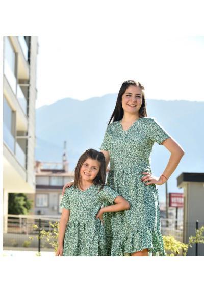 پیراهن دخترانه جدید برند EYLÜL ELİF BUTİK رنگ سبز کد ty108520657