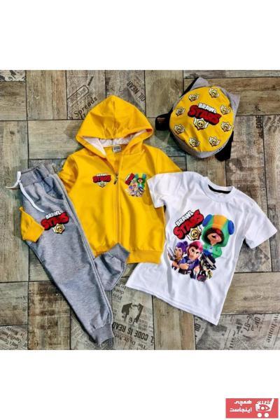 فروش ست لباس پسرانه شیک و جدید برند BRAWL STARS رنگ زرد ty68304888