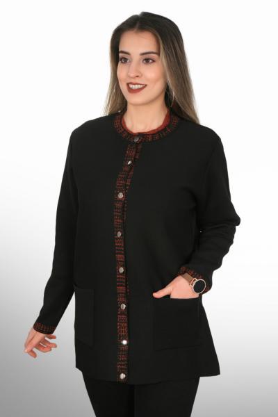 ژاکت بافتی بلند برند Tütsü Triko رنگ مشکی کد ty77506523