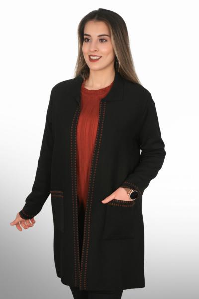 خرید پستی ژاکت بافتی زنانه پارچه نخی برند Tütsü Triko رنگ مشکی کد ty78654080