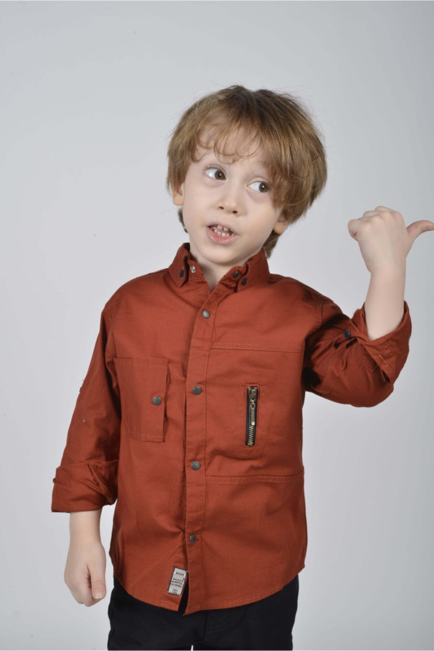 پیراهن پسرانه نگیندار برند ÇAMDALI ÇOCUK GİYİM رنگ نارنجی کد ty91870922