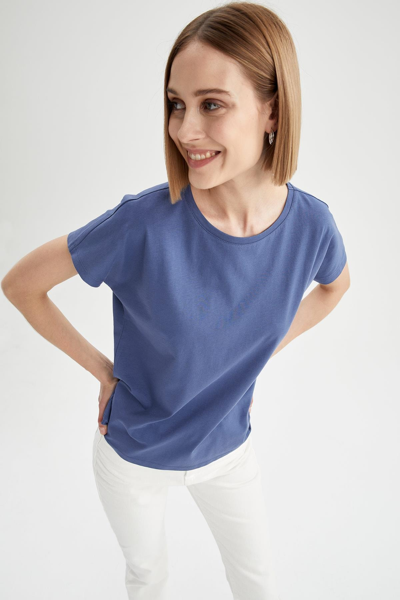خرید اینترنتی تیشرت خاص زنانه مارک دفاکتو رنگ آبی کد ty99092925