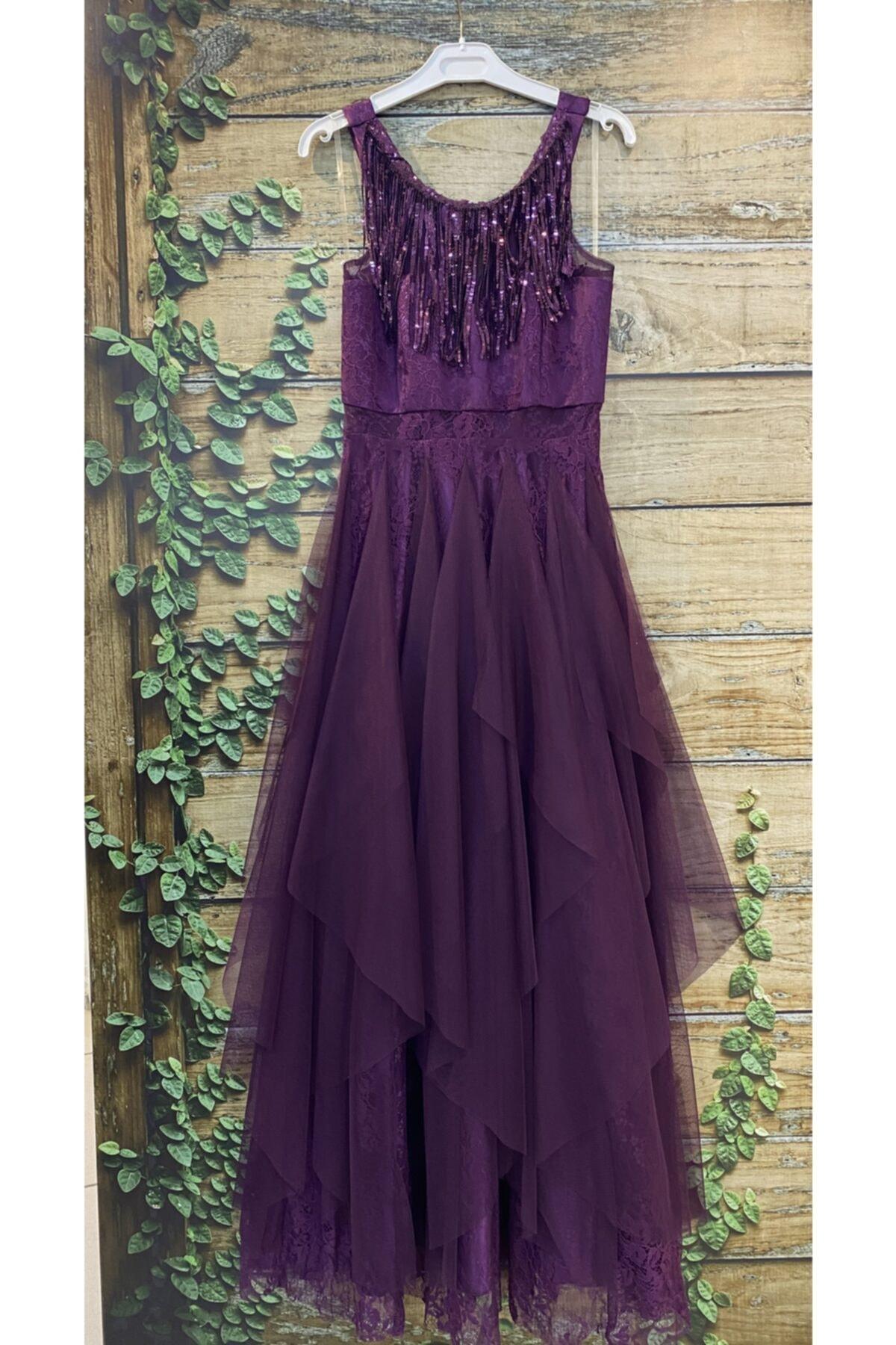 لباس مجلسی نخی برند MİSS HELİNA رنگ بنفش کد ty107085126