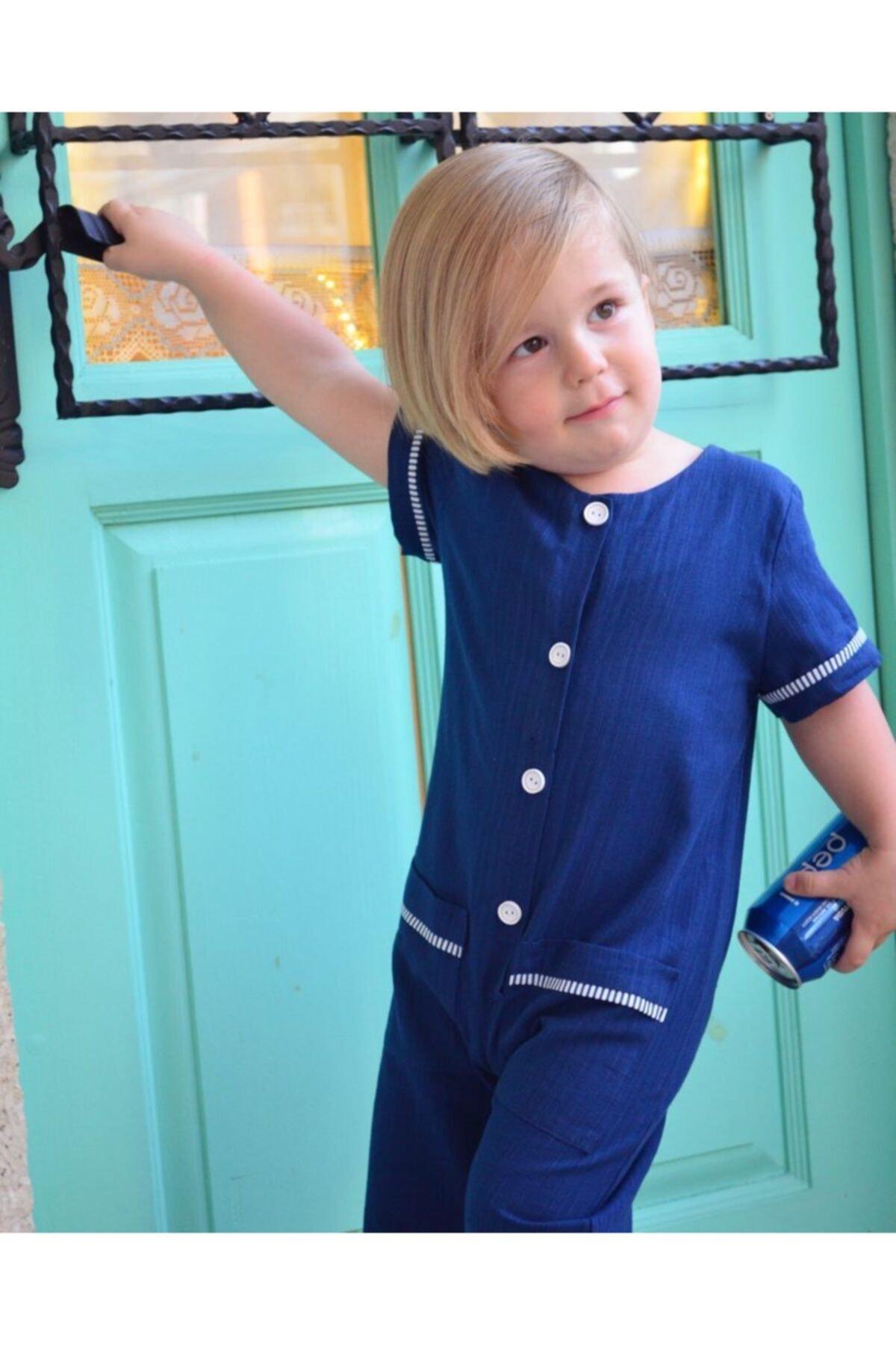 سرهمی بچه گانه پارچه نخی برند Le Petite Sole رنگ لاجوردی کد ty114424978