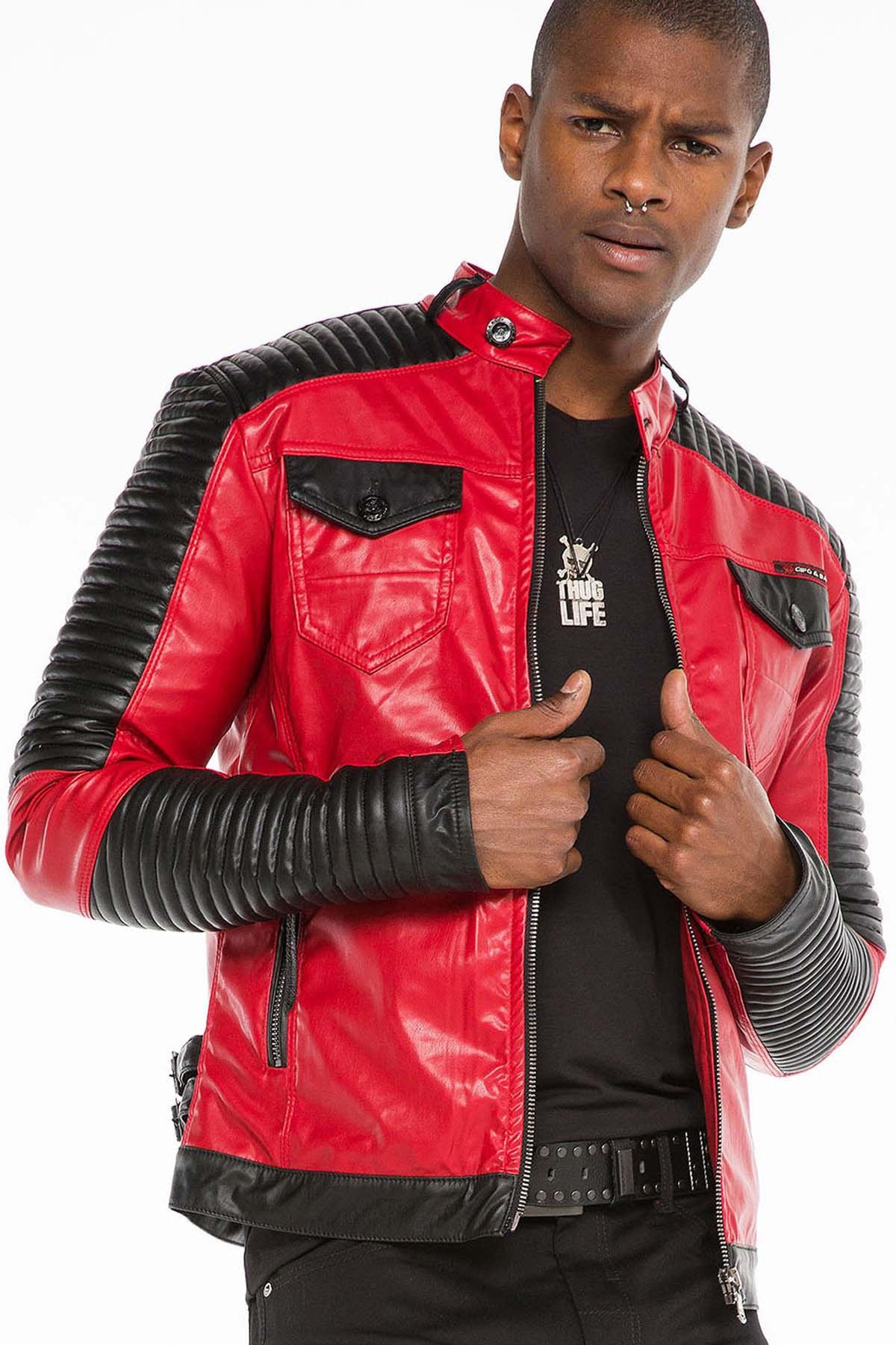 فروش پستی ژاکت چرم مردانه ترک برند Cipo&Baxx رنگ قرمز ty32525036