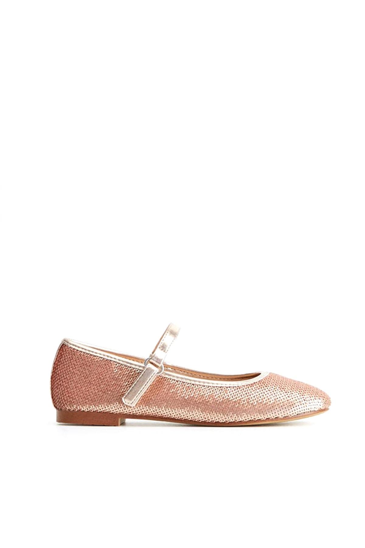 کفش تخت بچه گانه دخترانه مدل دار برند مانگو رنگ صورتی ty33406284