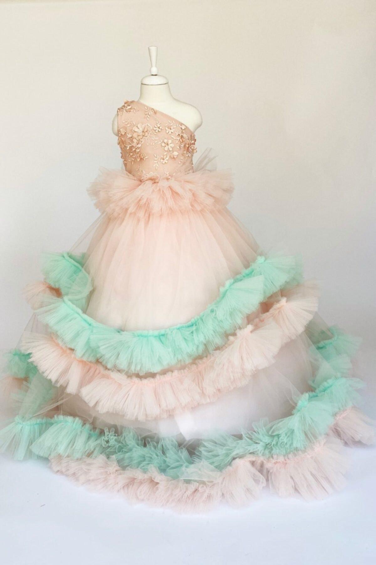 خرید پستی لباس مجلسی شیک دخترانه برند zühre balaban رنگ صورتی ty40572541