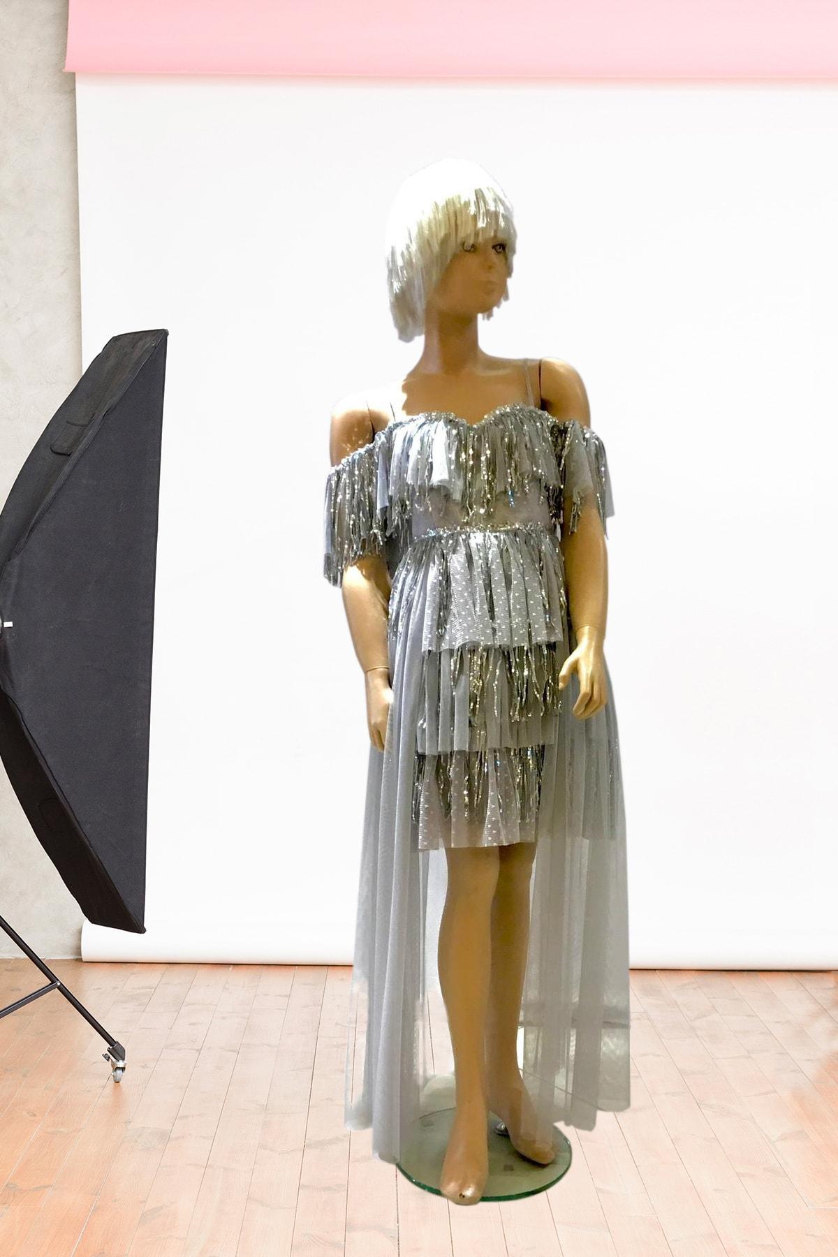 لباس مجلسی دخترانه کوتاه برند Milo رنگ نقره ای کد ty46371127