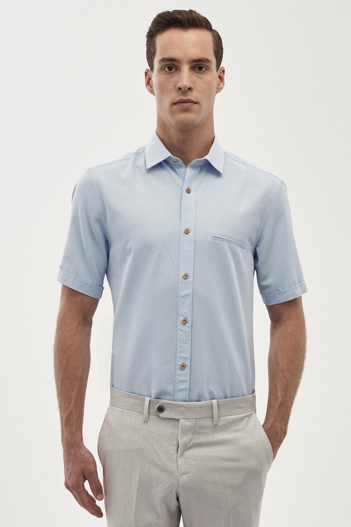 فروش پیراهن کلاسیک جدید برند آلتین ییلدیز رنگ آبی کد ty5616890