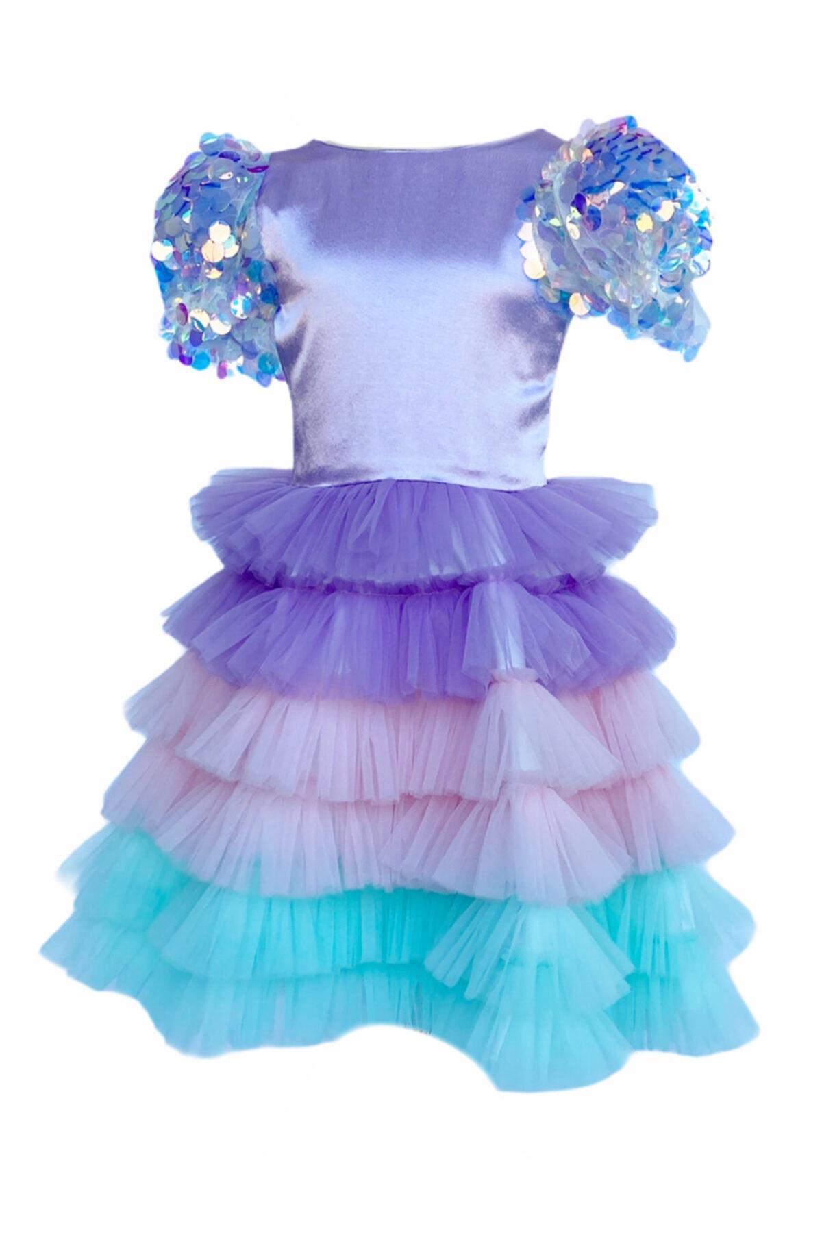 لباس مجلسی دخترانه 2021 برند zühre balaban رنگ بنفش کد ty63170950