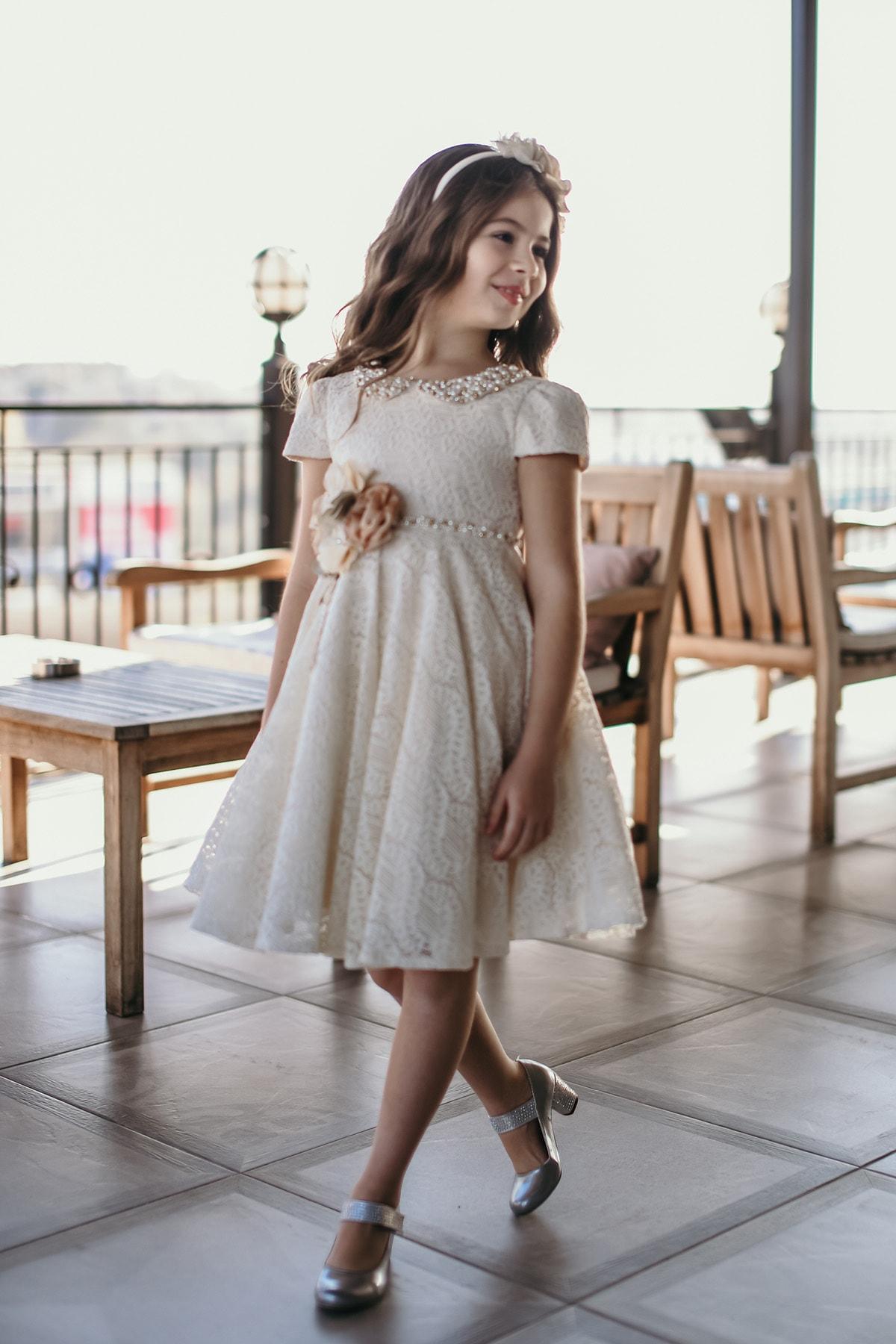 لباس مجلسی دخترانه برند MIALORA EXCLUSIVE رنگ بژ کد ty65450727