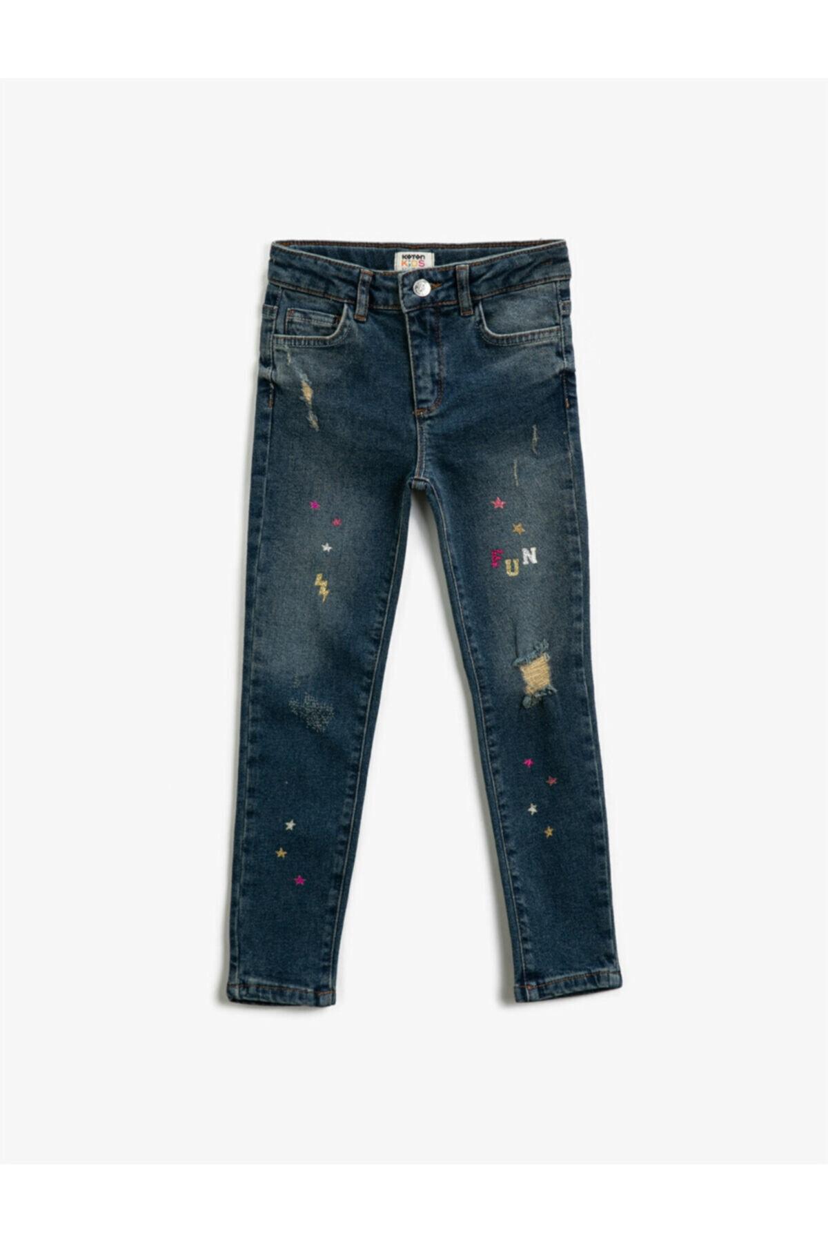 شلوار جین بچه گانه دخترانه شیک جدید برند کوتون رنگ آبی کد ty72795249