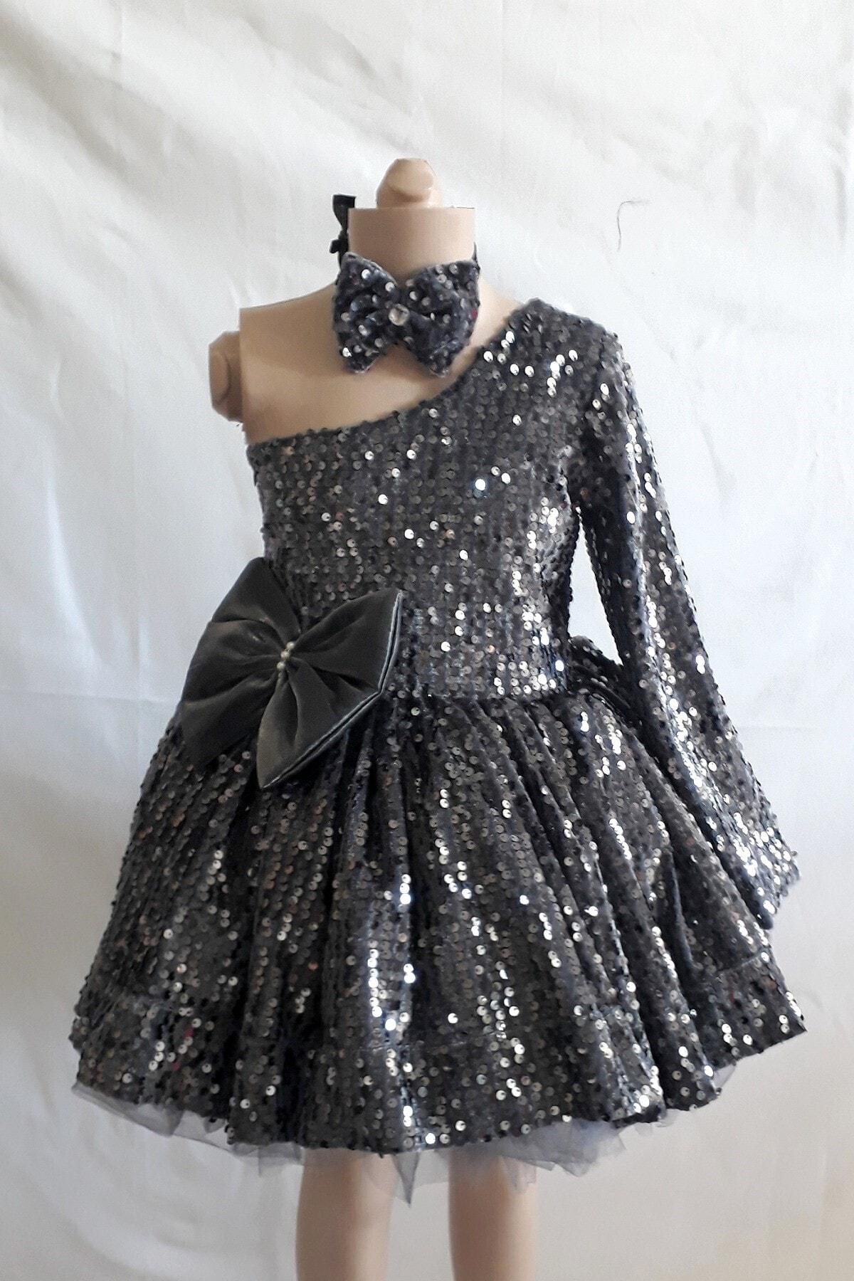 لباس مجلسی دخترانه شیک جدید Şahinkostum رنگ نقره ای کد ty82574730