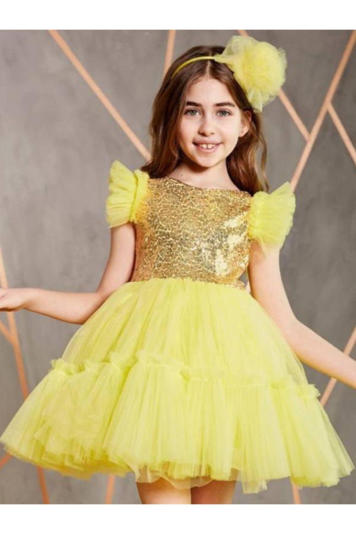 خرید انلاین لباس مجلسی دخترانه ترکیه برند Riccotarz رنگ زرد ty96126114