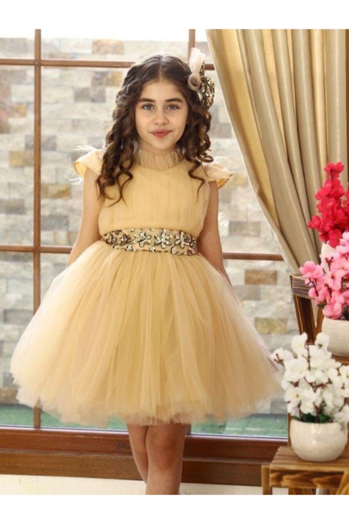فروشگاه لباس مجلسی دخترانه تابستانی برند Riccotarz رنگ بژ کد ty97023846