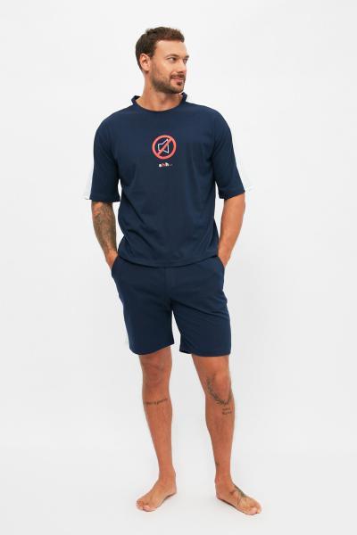 ست راحتی مردانه مدل دار مارک ترندیول مرد رنگ لاجوردی کد ty100549495