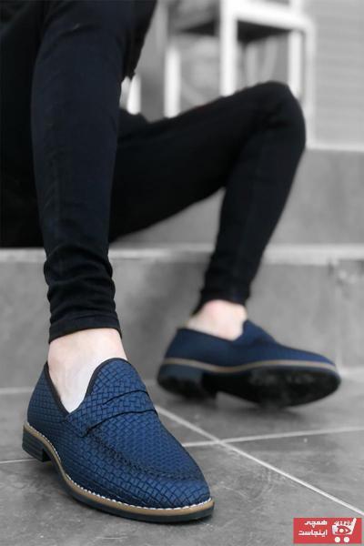 کفش کلاسیک مردانه مارک دار برند Mida Shoes رنگ لاجوردی کد ty101354727