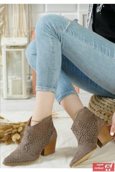 نیم بوت زنانه اینترنتی برند Eldora Shoes رنگ قهوه ای کد ty104133446