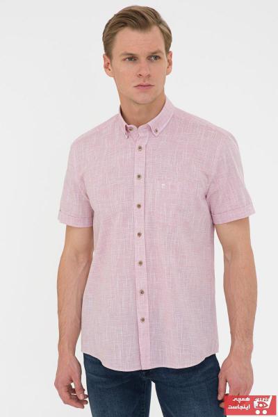 پیراهن مردانه ارزان قیمت مارک پیرکاردن رنگ زرشکی ty106288975