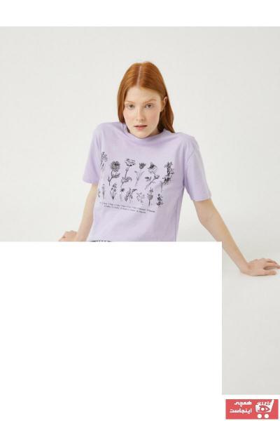 تیشرت زنانه طرح دار برند کوتون رنگ بنفش کد ty106976557
