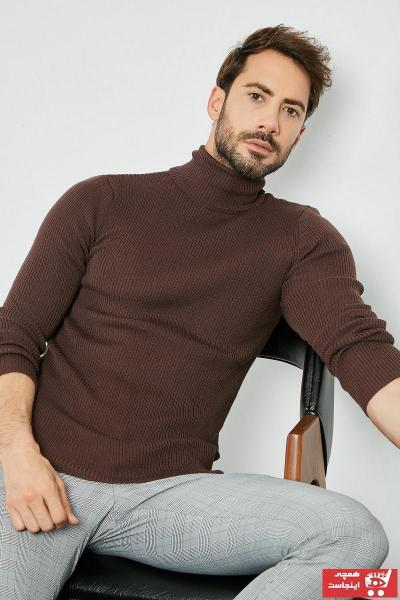 پلیور بافتی مردانه مجلسی برند Sateen Men رنگ قهوه ای کد ty31570021