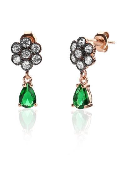گوشواره زنانه مارک دار برند Rams Gümüş رنگ سبز کد ty31824422