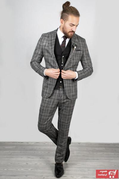 سفارش انلاین کت شلوار مردانه ساده برند دیپسی رنگ نقره ای کد ty34919680