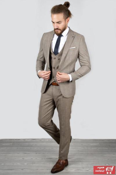 کت شلوار مردانه مدل دار برند دیپسی رنگ بژ کد ty34919693