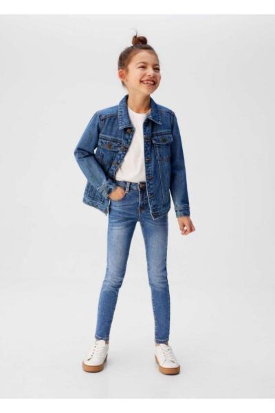 خرید شلوار جین بچه گانه دخترانه شیک مجلسی برند مانگو رنگ آبی کد ty35695920