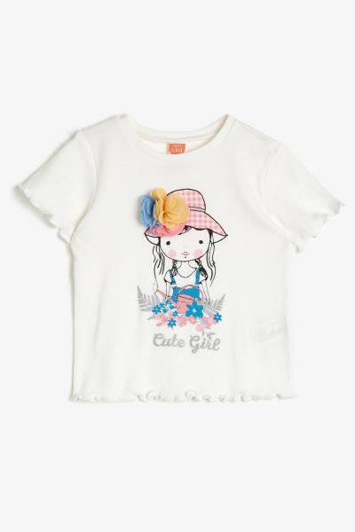 فروش پستی تیشرت نوزاد دخترانه شیک جدید برند Koton Kids رنگ بژ کد ty36977603