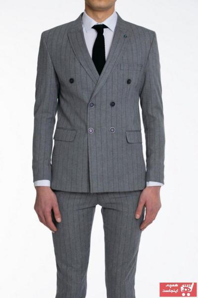 فروش کت شلوار مردانه حراجی برند Suitmen رنگ نقره ای کد ty41945907