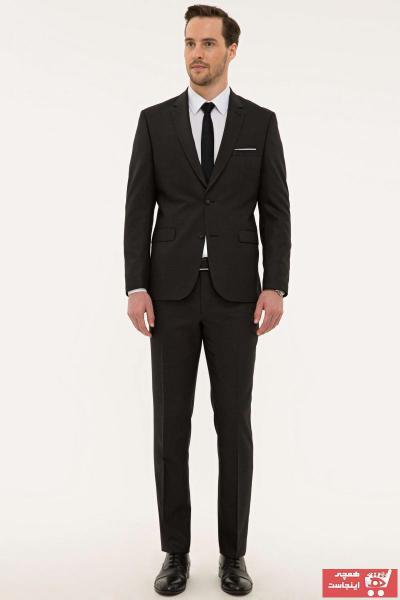 کت شلوار جدید مردانه اصل مارک پیرکاردن رنگ نقره ای کد ty42333391