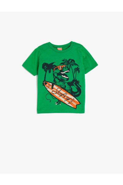تیشرت نوزاد پسرانه پارچه نخی برند کوتون رنگ سبز کد ty45025102