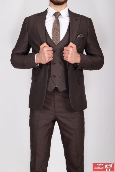 فروش پستی کت شلوار مردانه ترک برند Vito Andolini رنگ قهوه ای کد ty45656617