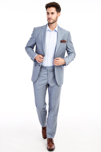 کت شلوار طرح دار برند Kiğılı رنگ نقره ای کد ty4695087