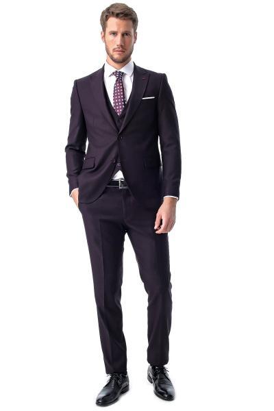 خرید پستی کت شلوار مردانه پارچه  برند Morven رنگ بنفش کد ty57382593