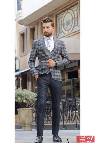 کت شلوار مردانه اصل برند Bay moses رنگ نقره ای کد ty68810206