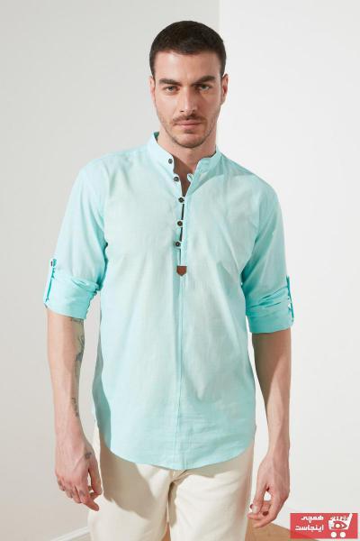 پیراهن مردانه مارک ترندیول مرد رنگ فیروزه ای ty79330430