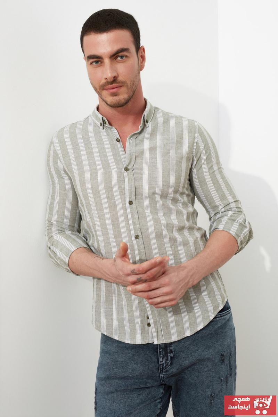 خرید انلاین پیراهن مردانه ترکیه برند ترندیول مرد رنگ خاکی کد ty80580408