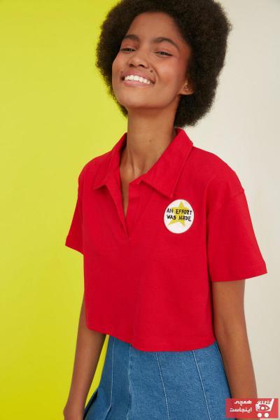 تیشرت جدید زنانه شیک برند TRENDYOLMİLLA رنگ قرمز ty87247542
