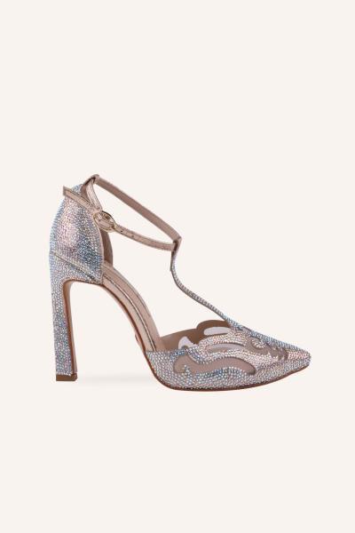 کفش پاشنه بلند مجلسی زنانه ست برند MARCATELLI رنگ بژ کد ty87269241