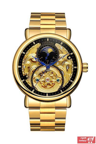 خرید پستی ساعت مچی مردانه  ارزان برند Forsining رنگ طلایی ty89226438