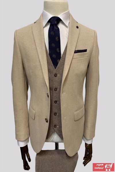 سفارش کت شلوار زمستانی مردانه برند Cemsa Collection رنگ بژ کد ty89346894