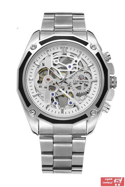 خرید پستی ساعت مچی مردانه لوکس 2021 برند Forsining رنگ نقره کد ty91862776