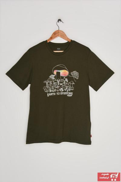 خرید پستی تیشرت مردانه پارچه نخی برند Levis رنگ سبز کد ty94999821