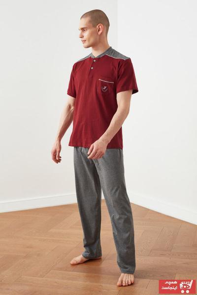خرید مدل ست راحتی مردانه مارک ترندیول مرد رنگ زرشکی ty97488585