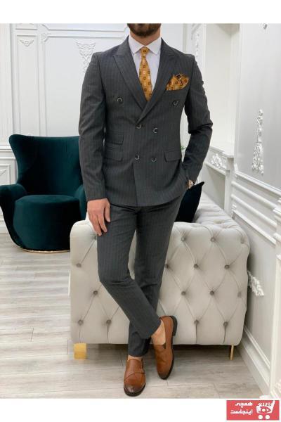 خرید کت شلوار مردانه ست برند PAREZ رنگ نقره ای کد ty98728945