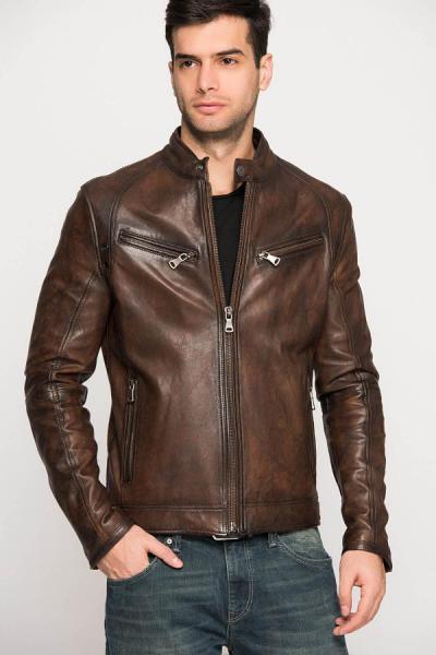 خرید پستی ژاکت چرم زیبا مردانه برند Derimod رنگ قهوه ای کد ty1787295