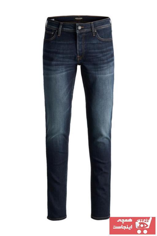 خرید نقدی شلوار جین پاییزی مردانه مارک جک اند جونز رنگ آبی کد ty31236687