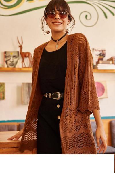 ژاکت بافتی زنانه شیک مجلسی برند Olalook رنگ قهوه ای کد ty31267055